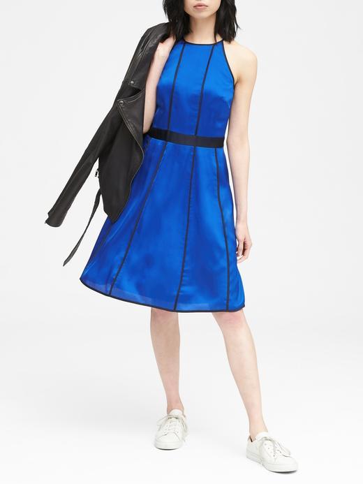 Kadın lacivert Panel Elbise