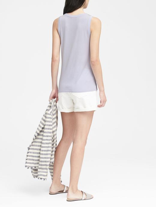 Kadın beyaz Streç-Modal Kolsuz Bluz