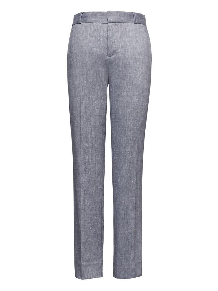Avery Straight-Fit Streç Keten Pamuk Karışımlı Pantolon