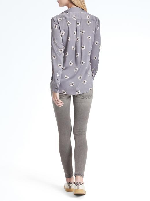 gümüş Dillon-Fit çiçekli gömlek