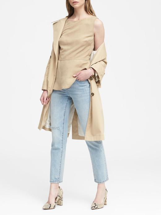 Kadın haki Keten Karışımlı Kolsuz Peplum Bluz