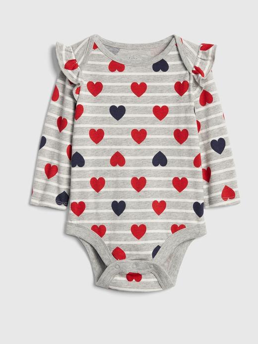 Bebek gri Çizgili ve Kalp Desenli Uzun Kollu Body