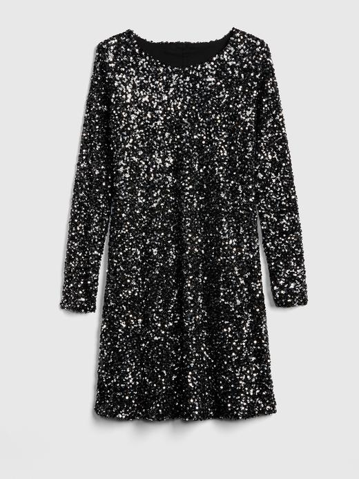 Uzun Kollu Pullu Elbise