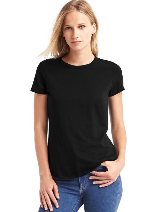Kadın Siyah Sıfır Yaka T-Shirt