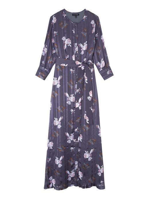 Kadın mor Abigail Çiçekli Maxi Elbise