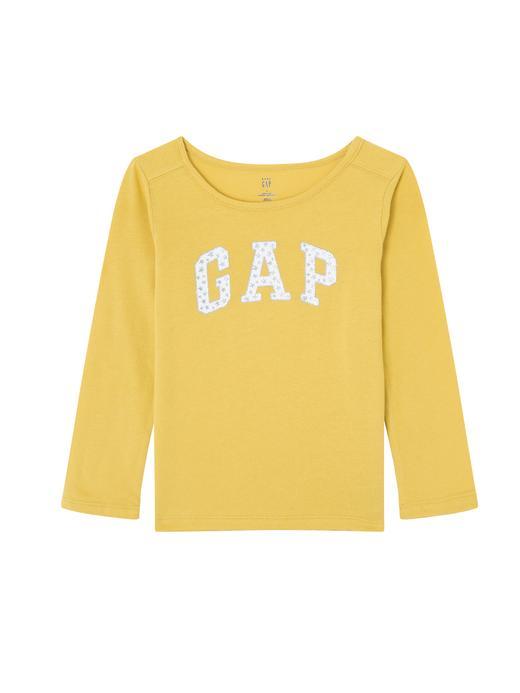 Bebek sarı Pırıltılı Logolu Uzun Kollu T-Shirt