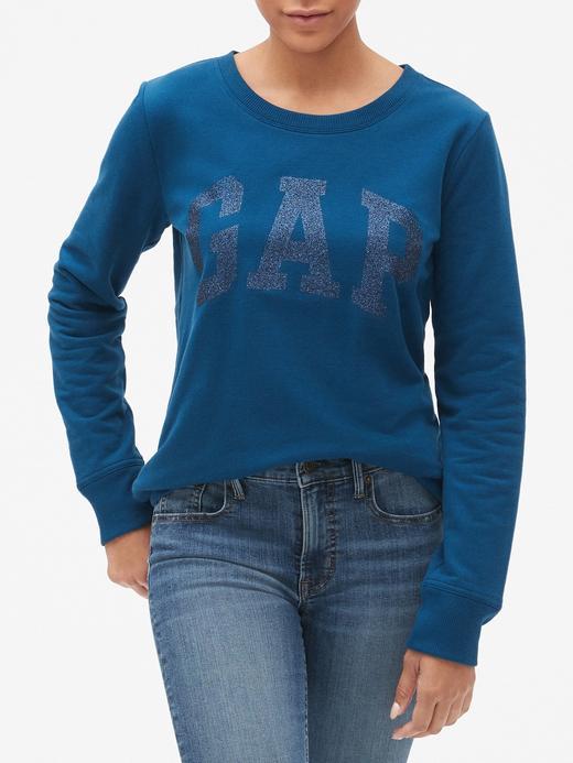 Pırıltılı Logolu SIfır Yaka Sweatshirt