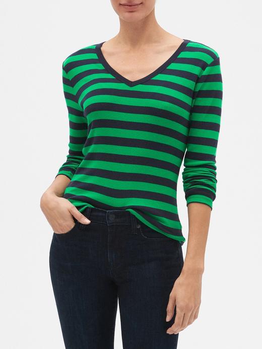 Çizgili Uzun Kollu V Yaka T-Shirt