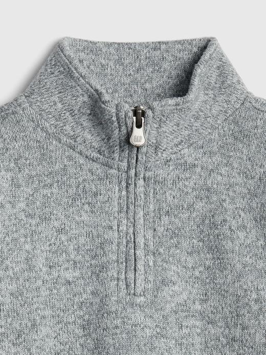 Bebek Gri Yarım Fermuarlı Sweatshirt