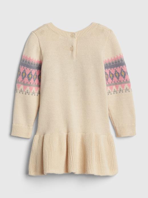 Bebek krem Fair Isle Desenli Kazak Elbise
