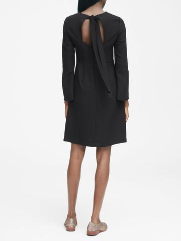 Kadın siyah Arkadan Bağlamalı Uzun Kollu Elbise