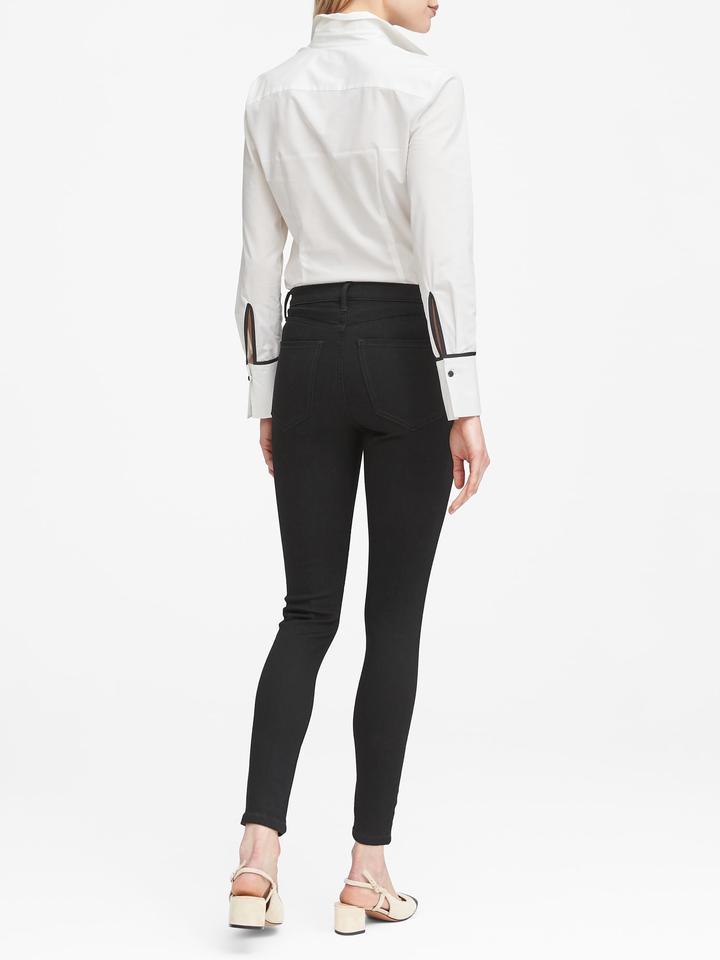 Kadın siyah Yüksek Belli Legging-Fit Sculpt Jean Pantolon