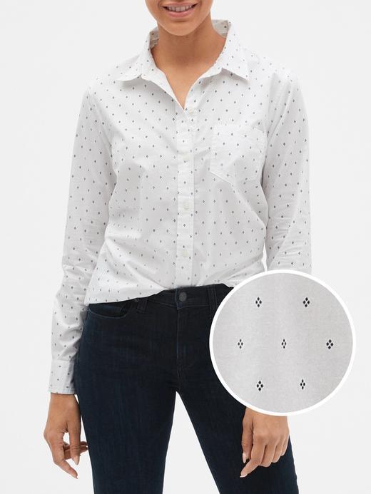 Desenli Uzun Kollu Poplin Gömlek