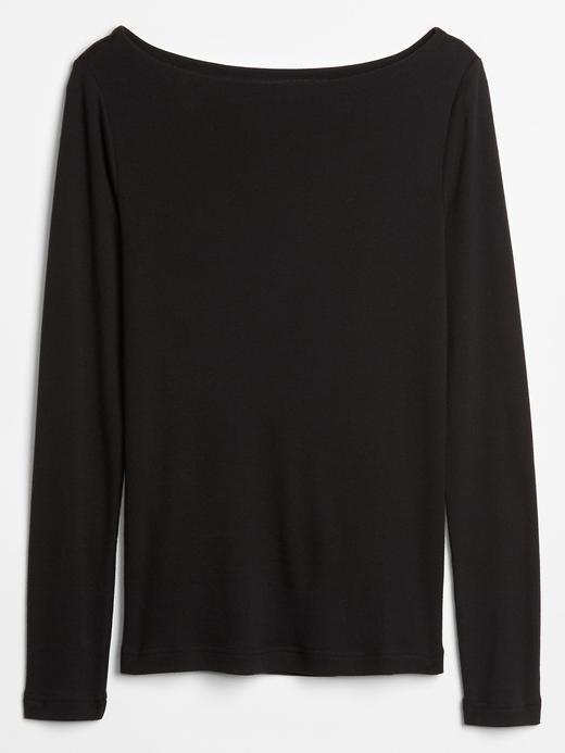 Kadın lacivert Uzun Kollu Kayık Yaka T-Shirt