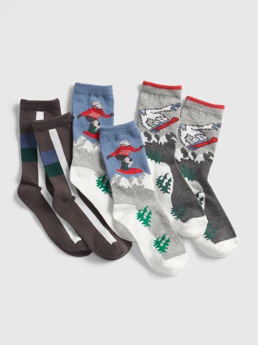 Erkek Çocuk Mavi 3'lü Snowboard Desenli Çorap Seti