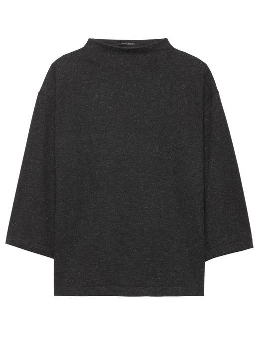 Kadın gri 3/4 Kollu Metalik Bluz
