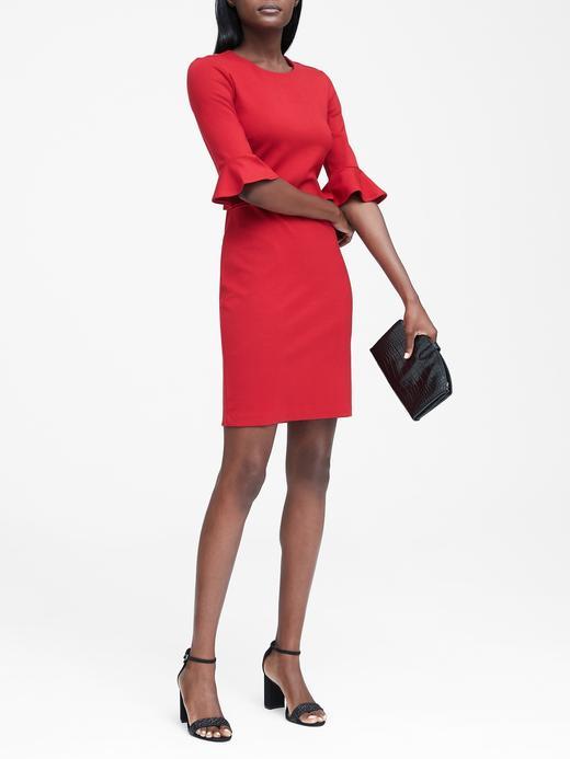 Kadın kırmızı Fırfır Kollu Ponte Elbise