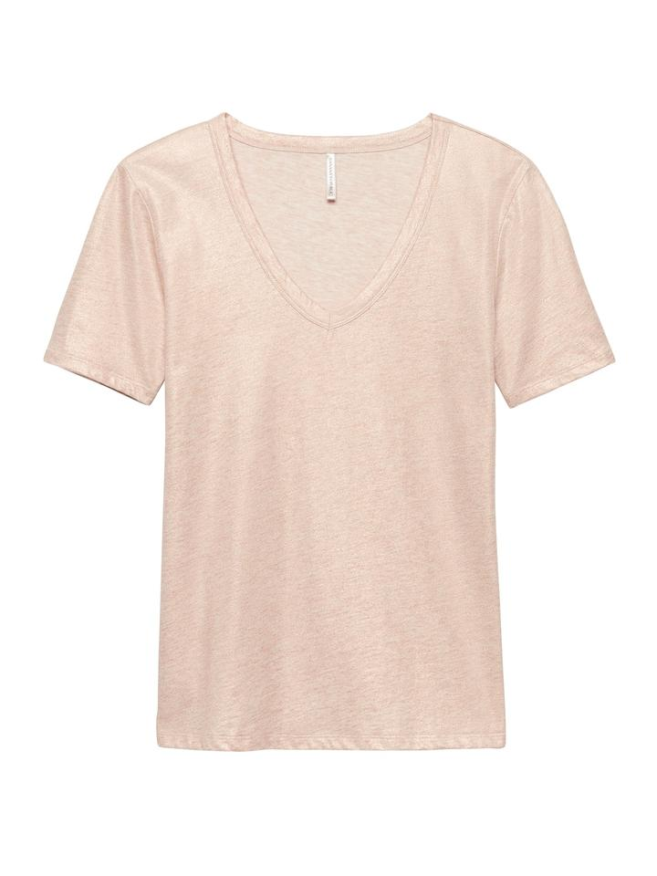 Kadın pembe altın Metalik Supima® Pamuklu T-Shirt