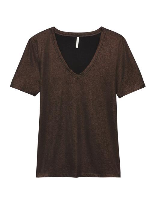 Kadın bakır Metalik Supima® Pamuklu T-Shirt