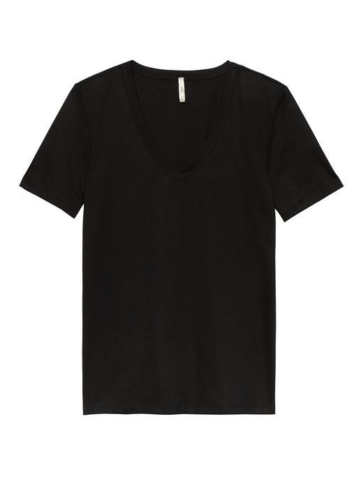 Kadın siyah Metalik Supima® Pamuklu T-Shirt