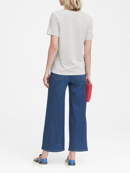 Kadın beyaz Metalik Supima® Pamuklu T-Shirt
