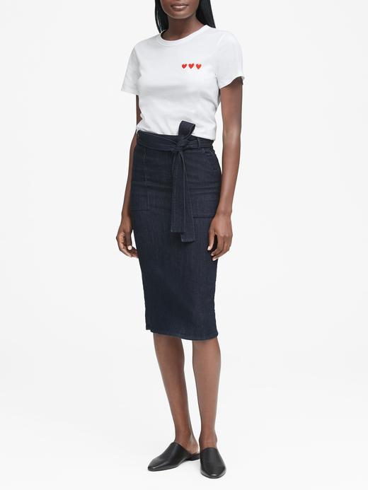 Supima® Pamuklu Kalp Desenli T-Shirt