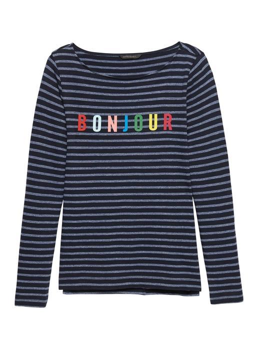 Pamuk ve Modal Karışımlı Çizgili T-Shirt