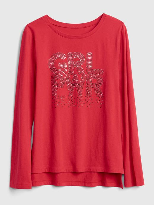 Kız Çocuk kırmızı Uzun Kollu Baskılı T-Shirt