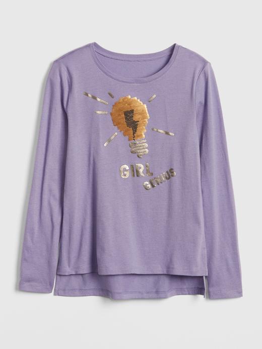 Kız Çocuk gri Uzun Kollu Baskılı T-Shirt