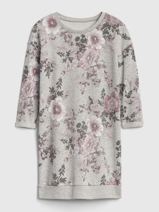 Kız Çocuk Gri Çiçek Desenli Shift Elbise