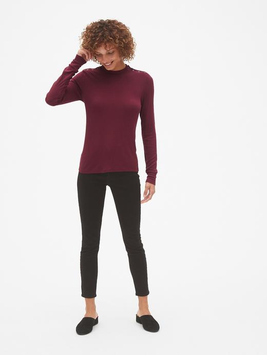 Kadın bordo Uzun Kollu Düğme Detaylı Modal T-Shirt