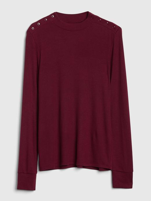 Uzun Kollu Düğme Detaylı Modal T-Shirt