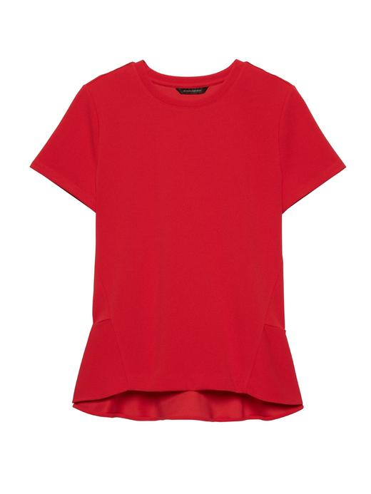 Kadın koyu kırmızı Fırfır Arkalı Kısa Kollu Bluz