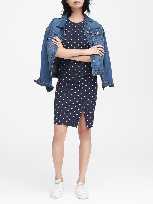 Puantiyeli Kolsuz Bi-Stretch Sheath Elbise