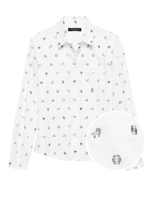 Kadın beyaz Quinn-Fit Burç Simgeleri Desenli Gömlek
