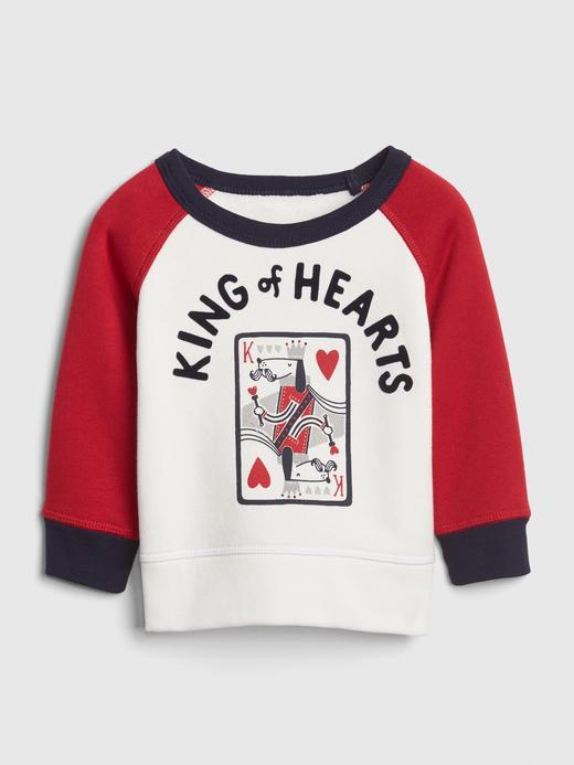 Bebek kırık beyaz King of Hearts Uzun Kollu Sweatshirt