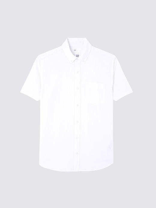 Keten ve Pamuk Karışımlı Kısa Kollu Gömlek