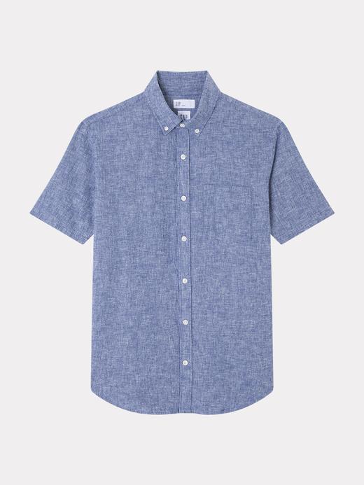 Erkek mavi kareli Keten ve Pamuk Karışımlı Kısa Kollu Gömlek