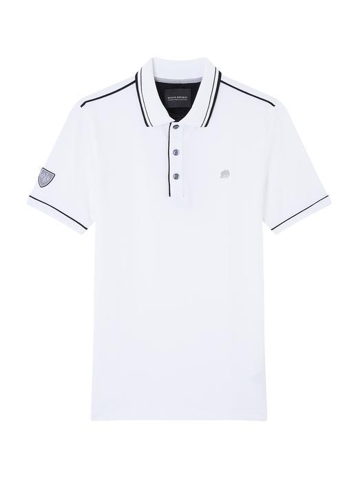 Erkek Beyaz Tipped Pique Polo T-Shirt