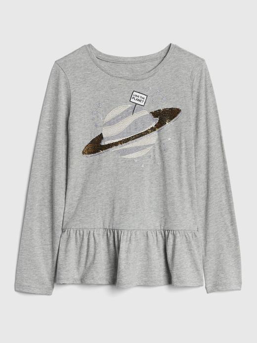 Değişen Pullu Uzun Kollu T-Shirt