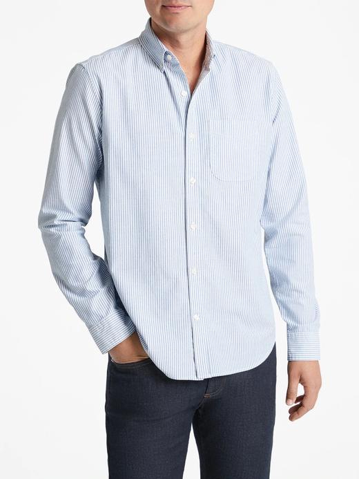 Erkek mavi çizgili Oxford Standart Gömlek