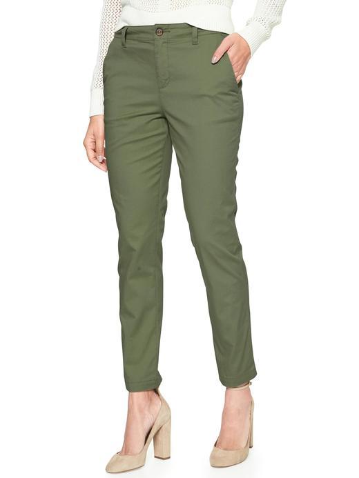 Kadın yeşil Streç Girlfriend Chino Pantolon