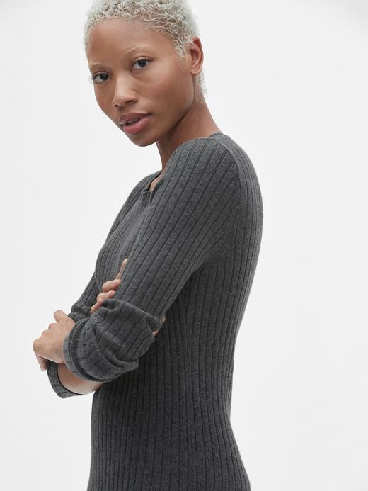 Kadın Siyah Yün Karışımlı Sıfır Yaka Kazak Elbise