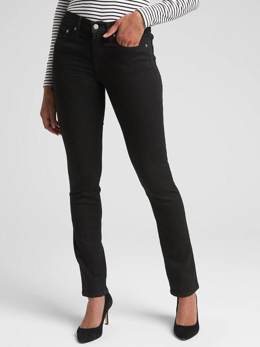 Kadın siyah Orta Belli Classic Straight Jean Pantolon