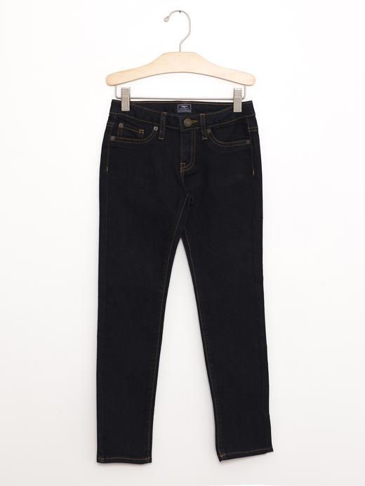 Kız Çocuk koyu indigo Super skinny jean pantolon