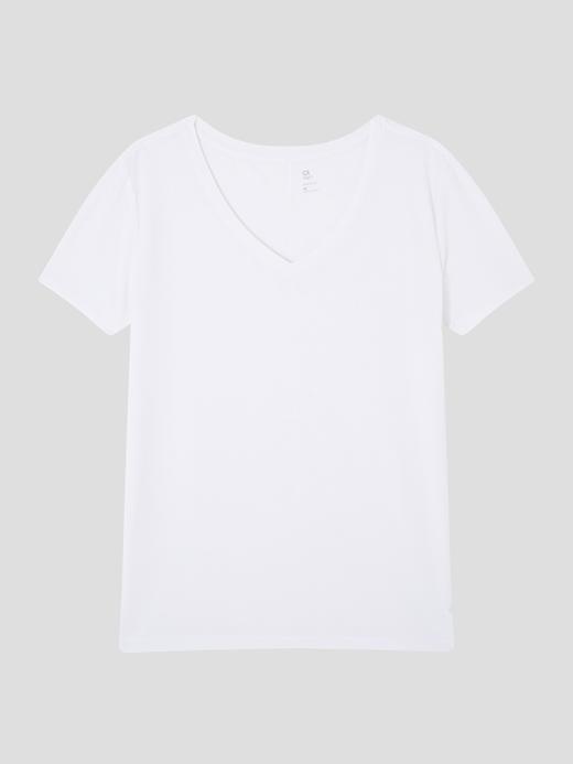 Kadın Beyaz GapFit Breathe V Yaka T-Shirt