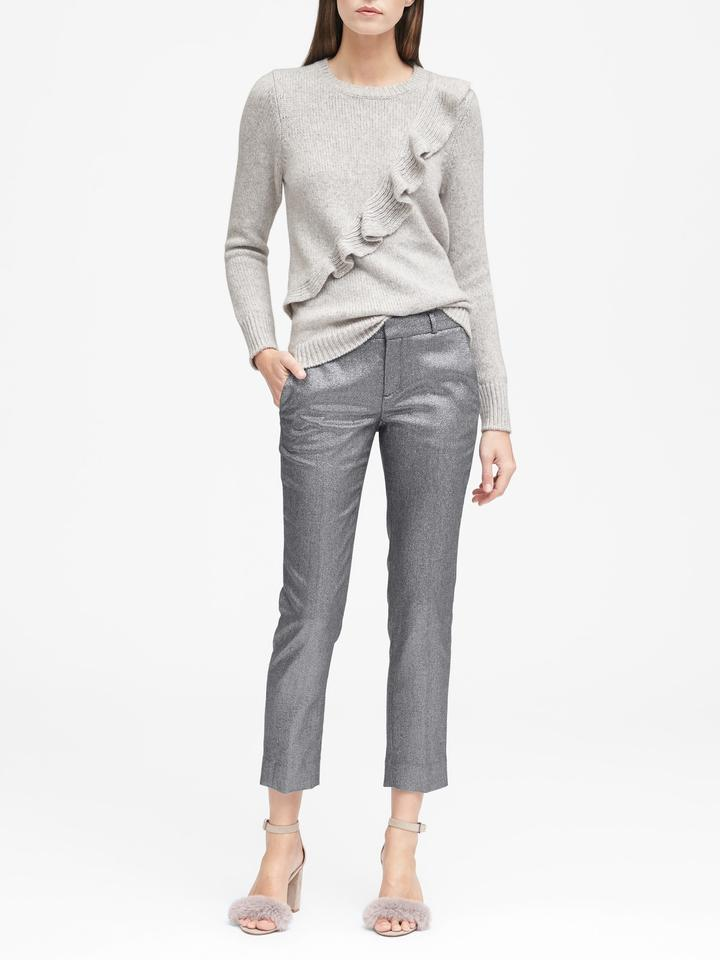 Kadın gümüş Avery Straight-Fit Metalik Pantolon