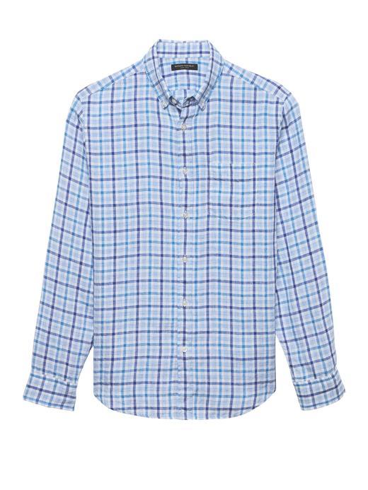 Camden Standard-Fit Keten Ekose Gömlek