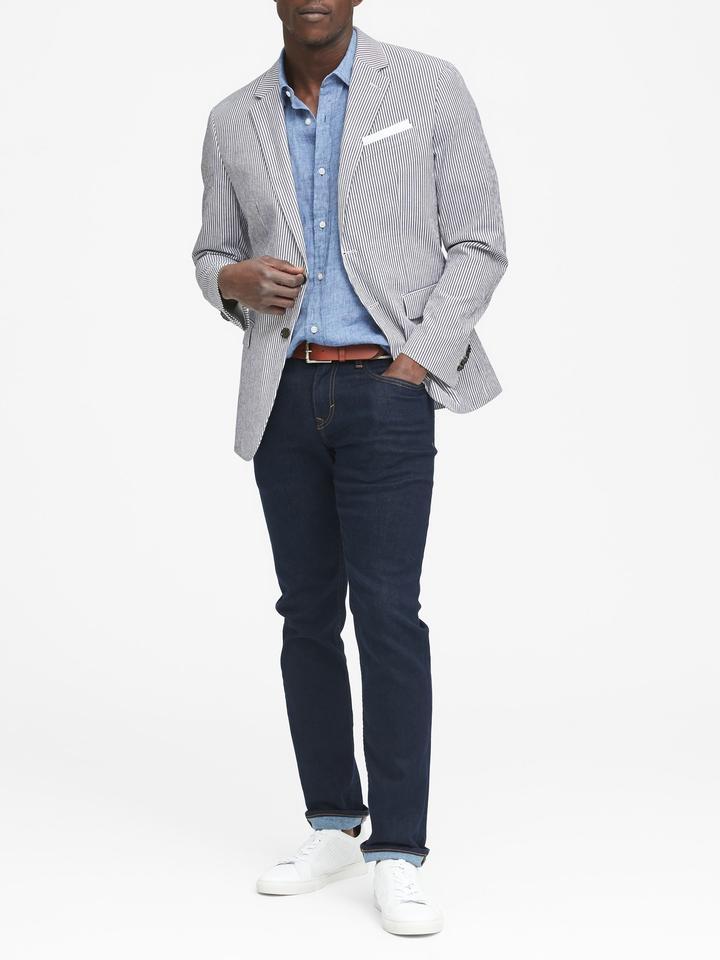 Erkek lacivert çizgili Slim Italian Pamuklu Streç Blazer Ceket