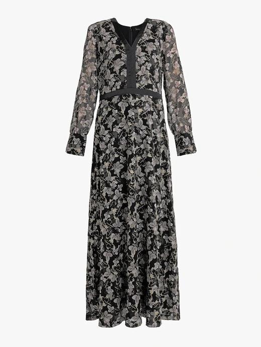 Kadın Siyah Çiçekli Maxi Elbise